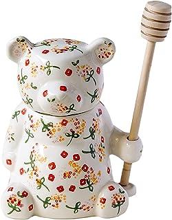 TEAYASON Pot Hermétique Pot de Rangement En Céramique Peinte Pots de Miel Scellés Bel Ours Sucrier Créativité Boîte À Thé ...