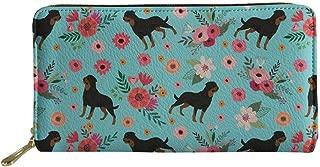 HUGS IDEA Large Capacity Long Wallet for Women Husky Dog Prints Leather Zipper Purse
