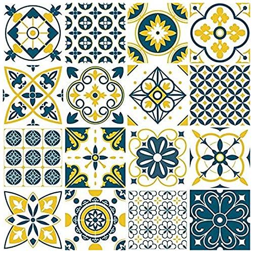 Adesivi per Mattonelle Bagno 15x15, 16 pezzi Impermeabile Adesivi in PVC Decorazioni Piastrelle in Vinile Bagno e Cucina Stickers Design Adesivi Murali