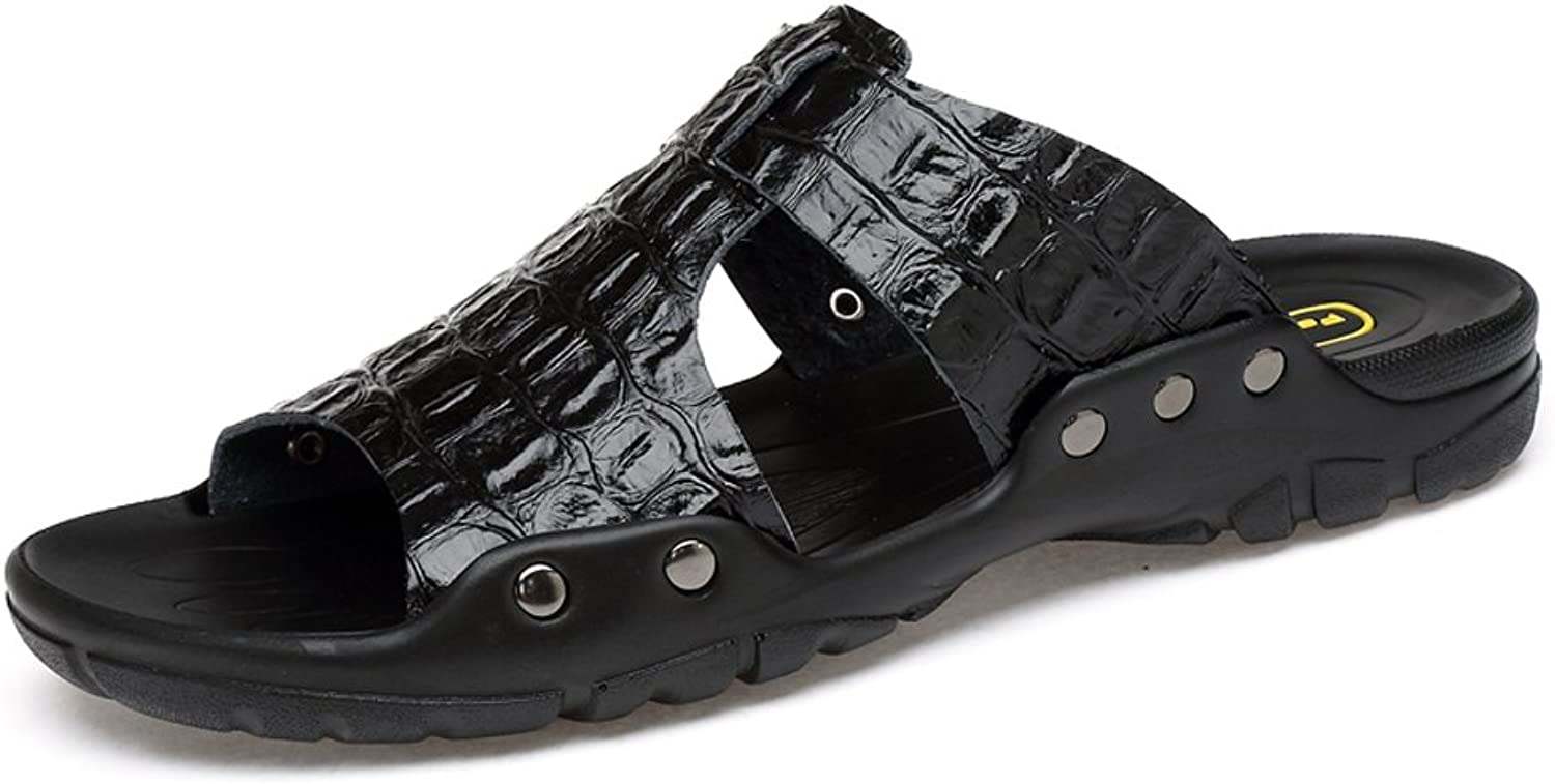 ANNFENG Fashion Summer Outdoor Casual Lightweight Men's Genuine Leather Beach Slippers, Elegant Business Faux Crocodileskin Texture Non-slip Sandals (color   Black, Size   12.5 UK)