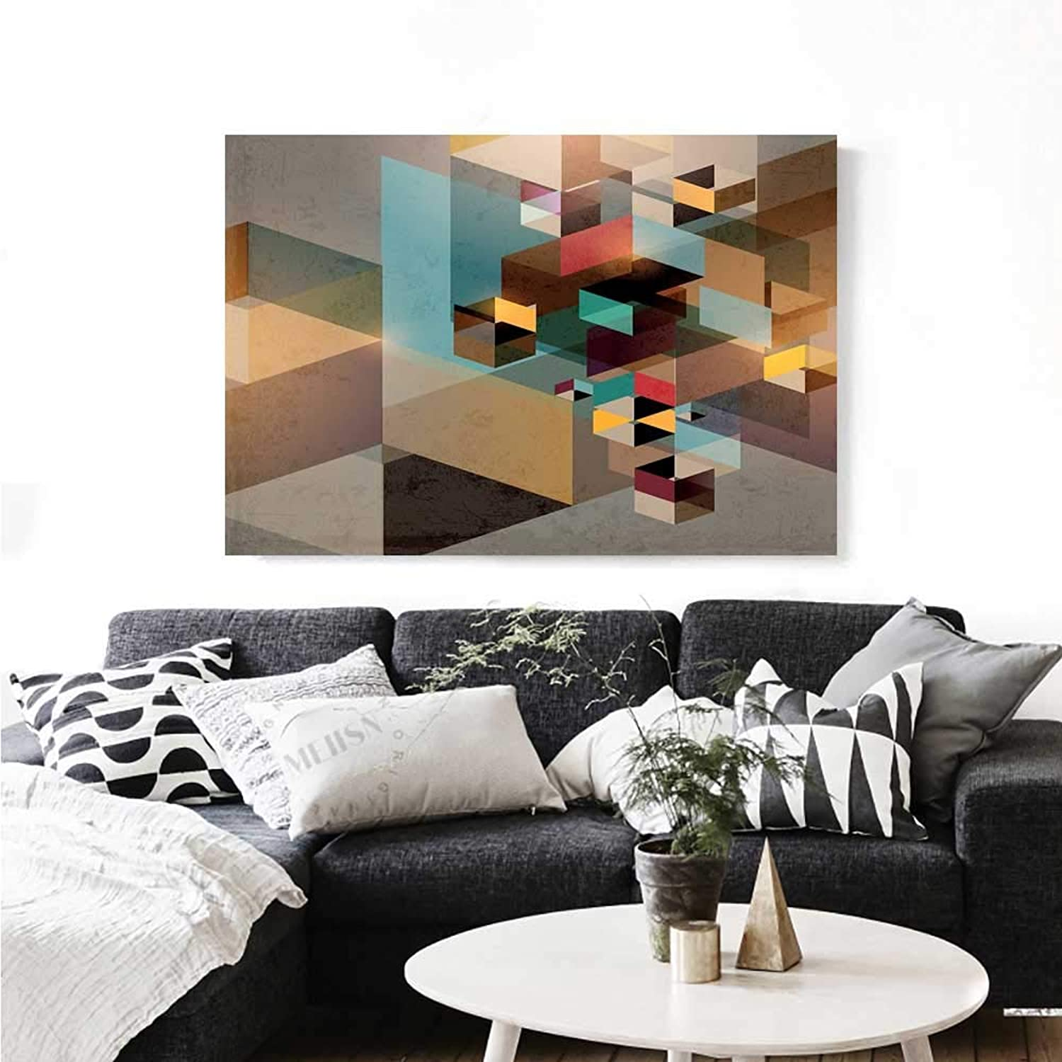 Warm Family Abstract Canvas Print Wall Art colorful Structure in Pieces Modern Dynamic Graphic Design Industrial Artistic Art Stickers 36 x32  Multicolor