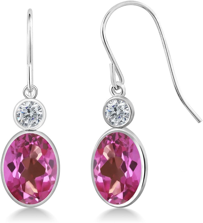 2.80 Ct Oval Pink Mystic Topaz G H Diamond 14K White gold Earrings