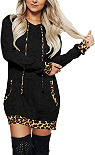 Sanyyanlsy Fashion Women's Casual Long Sleeve Leopard Print Hooded Tops Autumn Winter Slim Above Knee Dress with Pocket