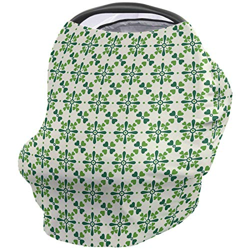 St. Patrick's Day Nursing Cover for Breastfeeding, Soft Multi Use for Baby Car Seat Covers Canopy Shopping Cart Cover Scarf Stroller Cover, Lucky Shamrock Celtic Irish Clover