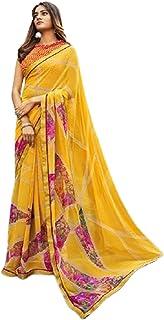 ملابس رسمية رسمية رسمية للنساء أصفر طراز تقليدي فاخر من نسيج ساري مع بلوزة قطعة 6221