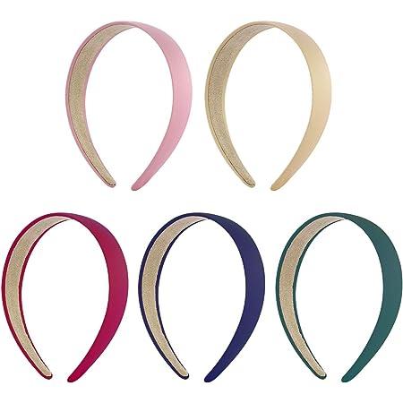 negro color puro Lurrose 8 diademas anchas accesorio para el cabello para mujeres y ni/ñas diademas r/ígidas sin dientes
