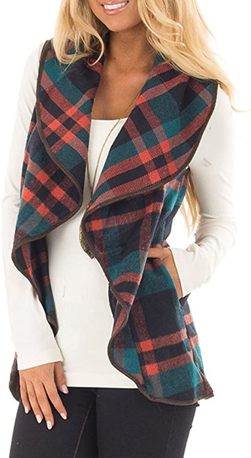 Choha Women's Lapel Open Front Sleeveless Plaid Vest Cardigan Sweater Coat