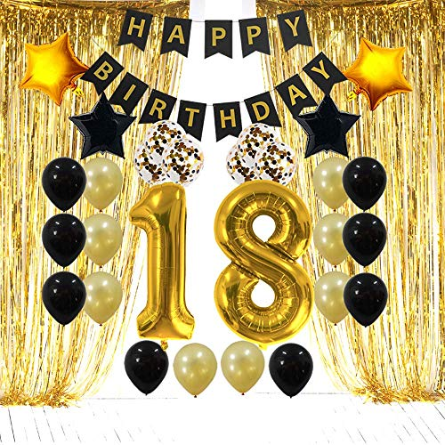 18th Birthday Decorations Gifts for Her Him - 18 Birthday Party Supplies Happy Birthday Banner, Gold Foil Fringe Curtains, 18 Gold Number Balloons and Confetti Balloons