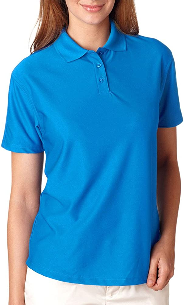 Ultraclub Ladies' Cool & Dry Elite Performance Polo Shirt, Pacific Blue, Medium