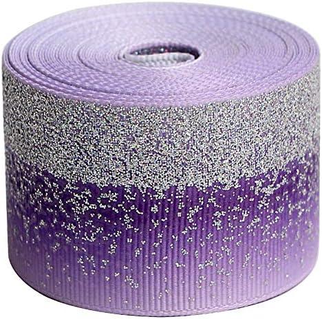 Tvoip Tie Dye Glitter Rainbow Polyester Grosgrain Tape Ribbon Grosgrain Ribbons 1 1 2 38mm x10 product image