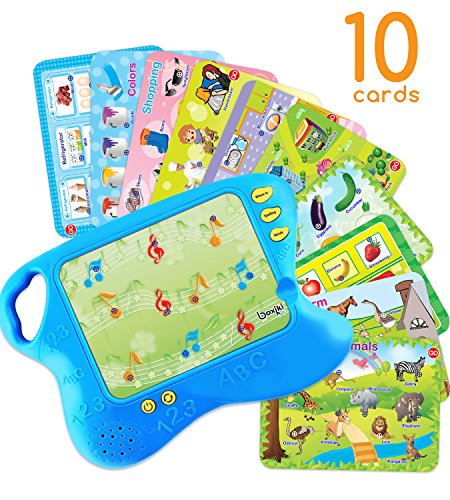 Boxiki kids Toddler Tablet and Learning Pad with 10 Educational Cards | Kids Smart Pad and Board Game w/ Touch and Learn Functions | Learn Animals, Colors, Words, Spelling and More. Ages 3 Years+