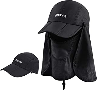 ICOLOR Sun Caps Flap Hats UV 360° Solar Protection UPF 50+ Sun Cap Shade Hat Removable Neck&Face Flap Cover Caps for Man W...