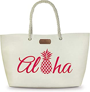 Rope Handle Beach Tote Bag Aloha Pineapple Pink