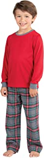 Big Boys' Flannel Classic Plaid Pajamas with Long-Sleeved Top