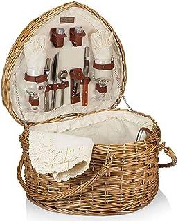 ZHIRCEKE Coeur en Forme de Pique-Nique en Osier Basket Fruit Basket rotin Stockage Bleu Portable Cadeau Bleu Pastoral Pani...