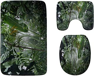 Amazon Primeval Jungle Bathroom Rug Mats Set 3-Piece,Soft Shower Bath Rugs,Contour Mat and Toilet Seat Lid Cover Non-Slip ...