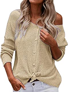 aihihe Button Down Blouses for Women Knit Tunic Sweater V Neck Long Sleeve Tie Knot Casual Loose Plain Shirts