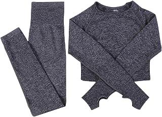 XFKLJ Sports Bra Yoga Pants Women Seamless Long Sleeve Yoga Set 2 Piece Sports Bra Top+Pants Sportswear Tracksuit Gym Fitn...
