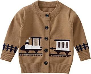 Londony▼ Little Baby Boys Cartoon Train Animal Graphic Button Down Classic Knit Cardigan Sweater Coat Jacket