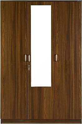 Nilkamal Teana 3 Door Mirror Wardrobe, Classic Walnut, 47.24 * 22.24 * 71.85