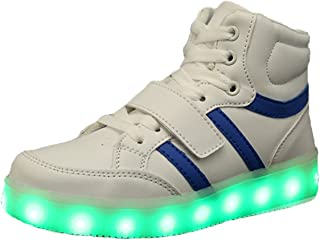Kids Boy and Girl's High Top Led Light Up Sneakers Flashing Rechargeable Sports Shoes