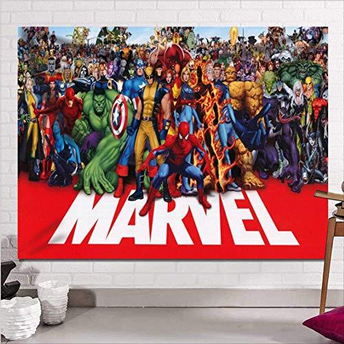 Jingrui The Avengers Tapisserie Wandbehang Gebürsteter Stoff Sandy Beach Wurf Teppich Decke Camping Zelt Reisematratze Schlaftapisserie Captain America Hulk Iron Man Spider-Man