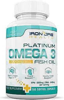Omega 3 triple potencia con Aceite de Pescado| 2000mg, 660 EPA 440 DHA por porción | 180 Cápsulas Blandas Premium sin GMO y sin Glute | Hecho en UK por Iron Ore Health