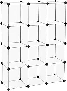 SONGMICS Meuble de Rangement, Bibliothèque, Unité de Stockage, Cubes en Plastique à Emboîtement, Facile à Assembler, pour ...