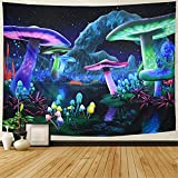 """Material:Psychedelic Mushroom Tapestry is made of 100% polyester fiber, soft and comfortable, lightweight and durable, easy to hang. Size: S--H39.4"""" X W52.4""""(100cm×133cm); M--H51.2""""X W59.1"""" (130cm*150cm); L--H59.1""""X W78.7"""" (150cm*200cm);XL--H70.8""""×W9..."""