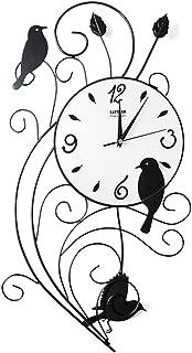 KSAN Fashion Wrought Iron Wall Clock, Boutique Creative Personality Irregular Good News Bird Decoration Clock Wall Watch Clock Mute Quartz 30 65cm