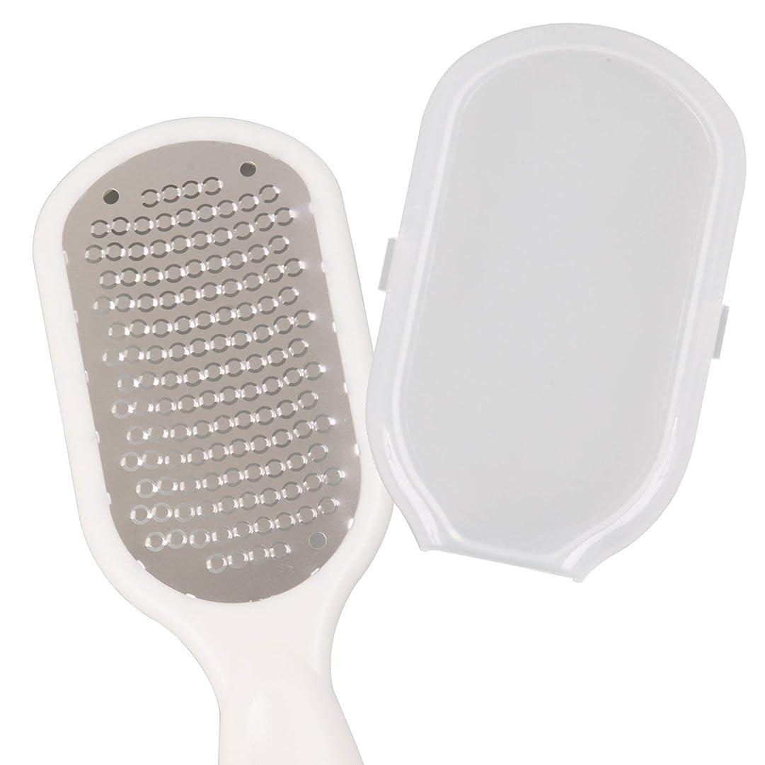 ピカリングどうやって苦難Climing-Beauty- かかと 角質取り かかと削り器 お風呂 防水 軽石 水洗いOK 衛生的な 角質 リムーバー 削り ケア 除去 保護カバー付 (ホワイト)