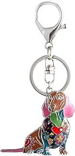 Luckeyui Unique Dog Keychain Dachshund Gift for Women Colorful Enamel Pets Charm Keyring