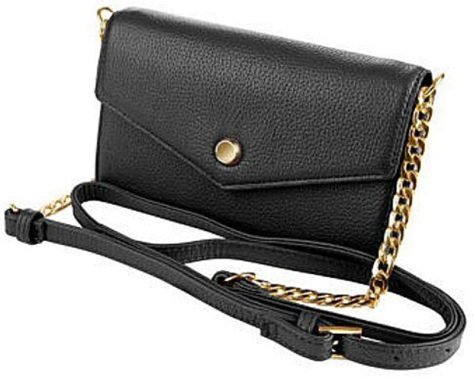 Stella and Max Leather Selling rankings Crossbody Smartphone Black Wallet Save money