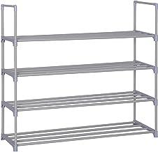 Torre de zapatos de metal de 4 niveles Nivel de estante Organizador de almacenamiento de zapatos de 20 pares Unidad de entrada Gabinete apilable con 4 niveles Estantes de metal duraderos (plata)