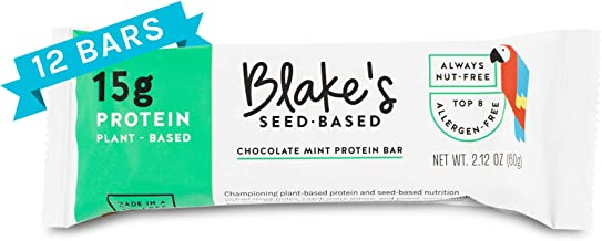 Blake's Seed Based Protein Bar, Chocolate Mint, Allergy Friendly, Plant Protein, Vegan, Nut Free, Gluten Free, Dairy Free, Soy Free, Egg Free, Non GMO, 2.1oz (12 Bars)