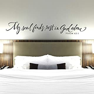 WSYYW My Soul in God Alone Bedroom Wall Decoration Vinyl Wall Stickers Bible Verses Reference Wall Stickers Family Garden Brown 57x9cm