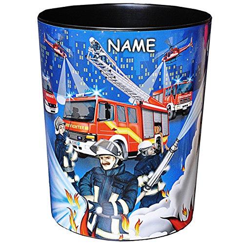 alles-meine.de GmbH Papierkorb / Behälter -  Feuerwehr & Feuerwehrmann  - incl. Name - aus Kunststoff - Mülleimer / Eimer - Aufbewahrungsbox für Kinder / Büro - Mädchen & Junge..