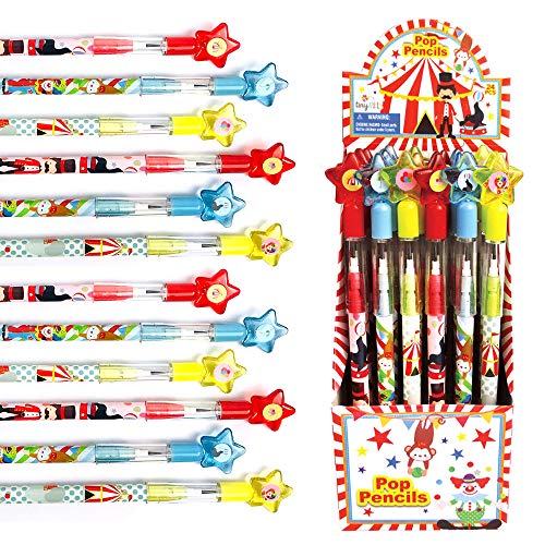 TINYMILLS 24 Pcs Circus Carnival Multi Point Stackable Push Pencil Assortment with Eraser for Circus Carnival Birthday Party Favor Prize Carnival Goodie Bag Stuffers Classroom Rewards Pinata Fillers