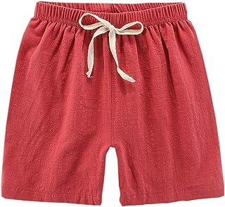 DCUTERQ niño pequeño niños niñas sólido algodón Lino elástico Cintura Inferior Pantalones Cortos Verano Rodilla Longitud C...