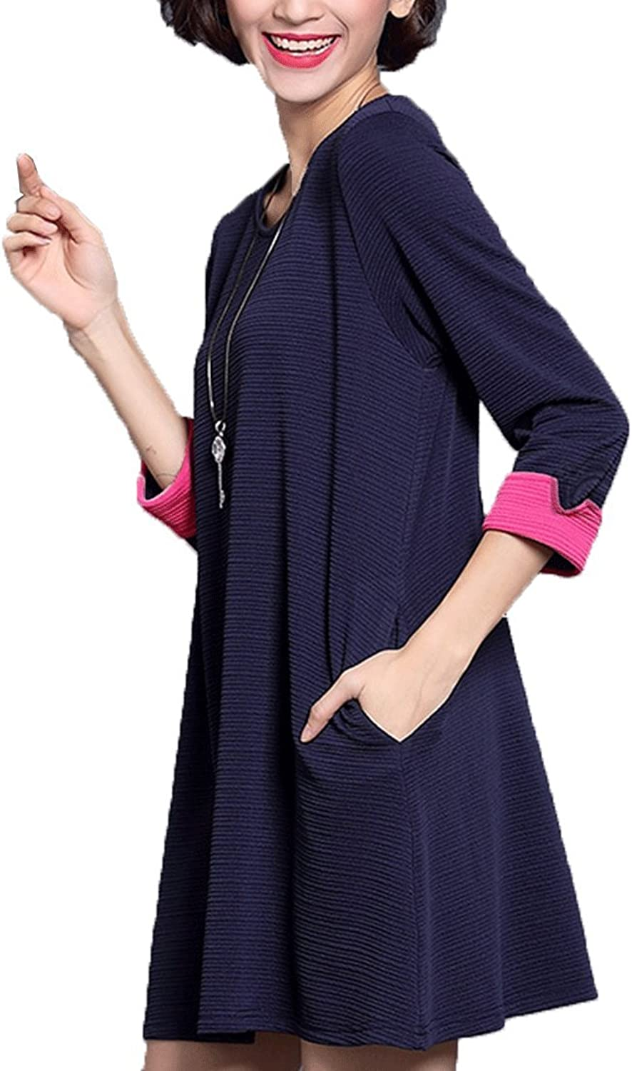 MFrannie Women's New Spring Three Quarter Sleeve Loose Casual Slimming Dress