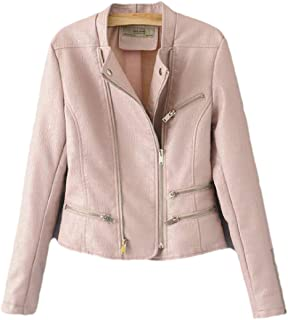 Women's Side Zipper Long Sleeve Faux Leather Moto PU Jacket Coat