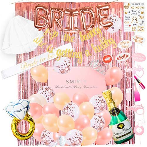 Smirly Bachelorette Party Decorations Kit: Rose Gold Bridal Shower Decorations Kit, Bachelorette Party Supplies, Bride to Be Decorations, Bridal Shower Decor, Bachelorette Sash and Veil Bride Balloons