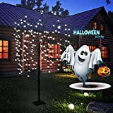 LED Solar Willow Tree Lights Outdoor,4.6Ft Lighted Weeping Willow Tree,Adjustable Branches Fairy Light Tree,Artificial Christmas Tree for Garden Decoration(Flat Bottom Stand & Spike)-White