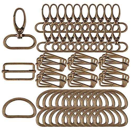 Gesh 60 anillos de metal D de 32 mm para mordazas giratorias, hebillas Tri-Glide para accesorios de bolso (bronce)