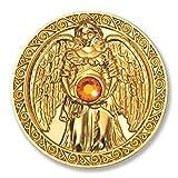 Glücksmünze Engeltaler Freude, Schutzengel Engel Taler 24kt vergoldet mit Swarovski Elements, Glücksbringer Talisman Schutzsymbol Glückstaler
