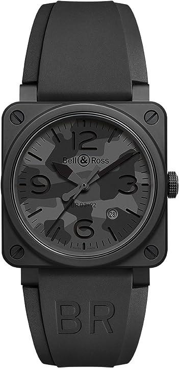 Orologio militare - bell & ross br03-92 automatico 42 millimetri nero camo mens br0392-camo-ce/srb