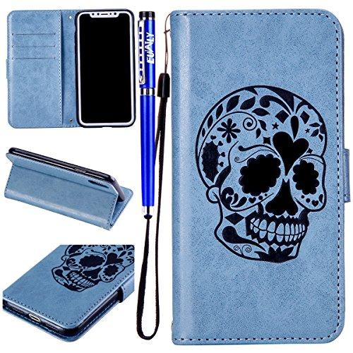 EUWLY Kompatibel mit iPhone XS/iPhone X Leder Handyhülle Lederhülle Wallet Case Flip Cover Schädel Muster Bookstyle Klapphülle Handytasche Leder Tasche Magnet Kartenfächer Standfunktion,Blau