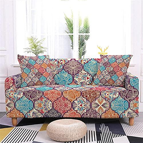 Fundas Sofa Elasticas 1 Plazas 90-140 Cm,Fundas de Sofa Ajustables Antideslizante Decorativas Protector Sofa de Muebles con 2 Funda de Almohada - Patrón Retro de Color