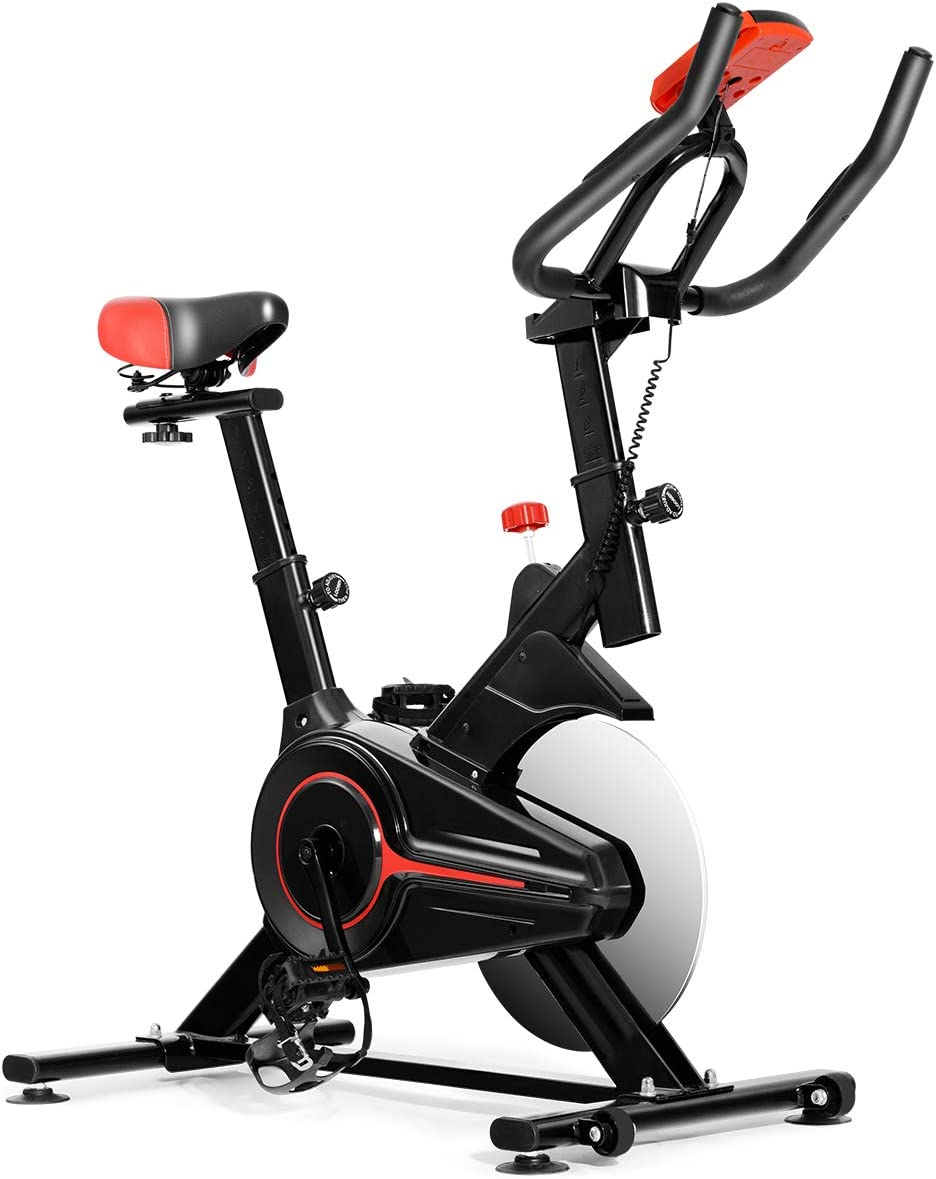 GYMAX Indoor Cycling Bike, Stationary Exercise Bike with LCD Mon