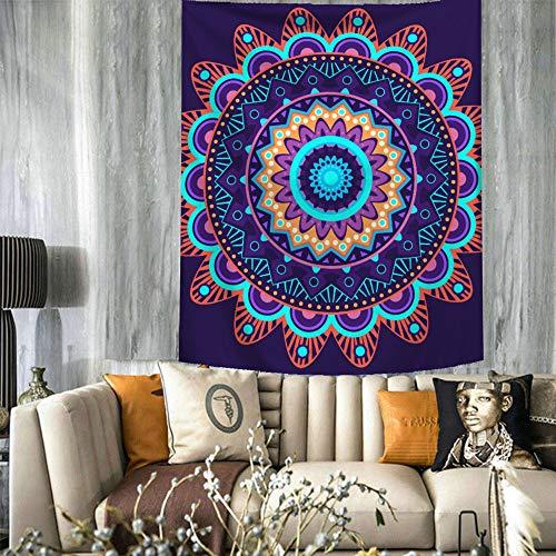 Tapiz Pared de Creativo Grande, Morbuy Decoración Tapices Novedad Interesante Bohemia Mandala Vertical Tapicería Cubierta del Sofa Manteles Playa Accesorio Casero (Pequeño (130 x 150 cm),Azul Oscuro)